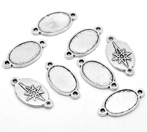 10 Silver Oval Cameo Frame Settings Connectors 26x13mm(Fit 17x11mm)